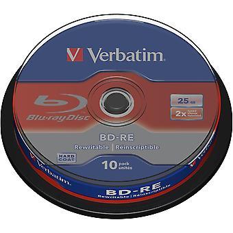Ordret BD-RE, 2x, 25 GB/200min 10-pack spindel, Hardcoat