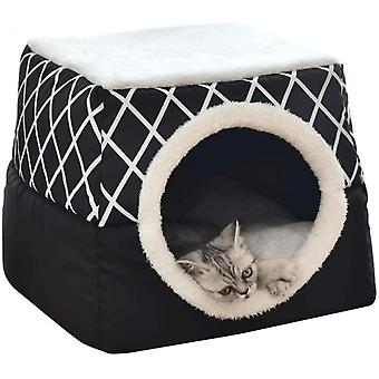 Two-in-one Foldable Closed Pet Cat And Dog Kennel (black L)