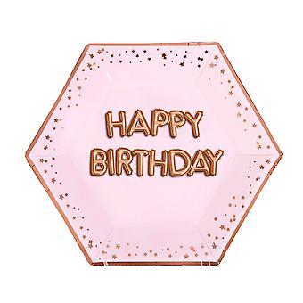 Glitz & Glamour Pink & Rose Gold Plate Suuri - Hyvää syntymäpäivää