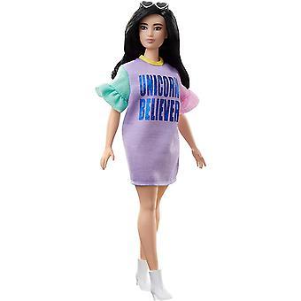 Mattel Barbie Fashionistas Puppe 127? mit langen brünetten Haaren, die einhorngläubiges Kleid tragen