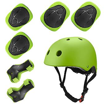 Sports Protective Gear Children's Helmet And Protective Gear 7 Piece Set (green