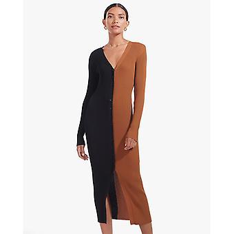 Jesenné šaty pre ženy Slim Midi šaty s dlhým rukávom košeľové šaty