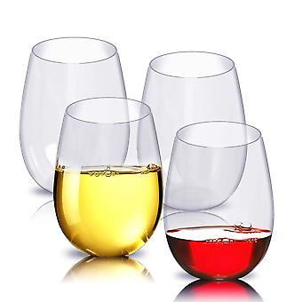 Vasos de vino sin tallo de plástico 4 Pack