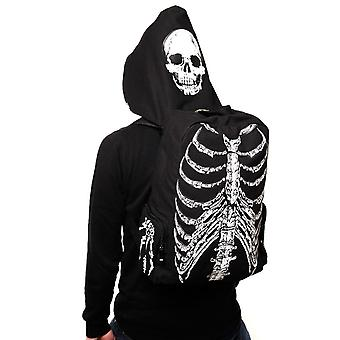 Banned Ribcage Skeleton Backpack With Built In Hood