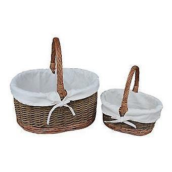 Branco forrado Childs conjunto de vime Oval de país duas cestas de compras