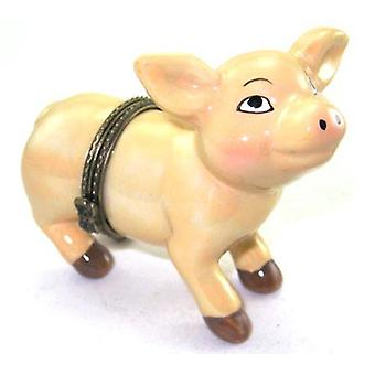 Pink Pig Little Piggy Piglet Hinged Trinket Box phb