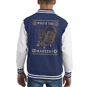 Last Dragon Whos The Master Christmas Knit Pattern Kid's Varsity Jacket