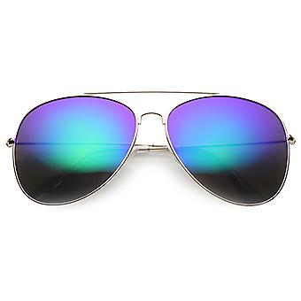 Class Large Retro Metal Mirror Lenses Aviator Sunglasses
