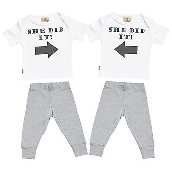 Spoilt Rotten She Did It She Did It Baby T-Shirt & Baby Jersey Trousers Twins Outfit Set