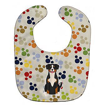Carolines Treasures  BB5867BIB Pawprints Entlebucher Baby Bib