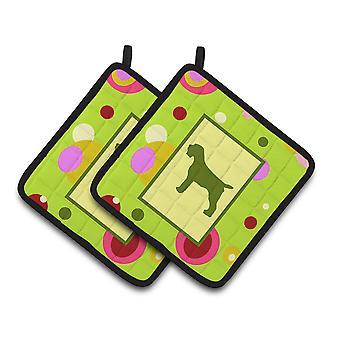 Limegrön Dots Wirehair pekar Griffon par grytlappar