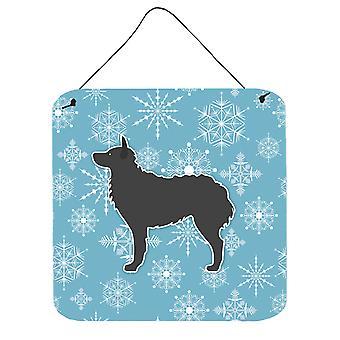 Floco de neve de inverno cão de Pastor Croata de parede ou porta pendurada imprime