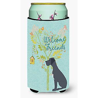 Welcome Friends Black Great Dane Tall Boy Beverage Insulator Hugger