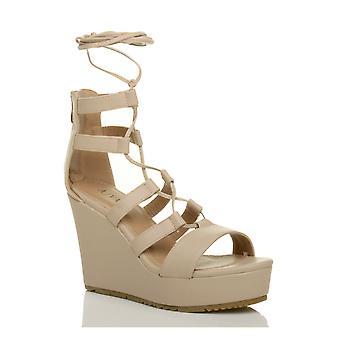 Ajvani Womens hohe Keil Plattform Ghillie Spitze Zip eingesperrt Gladiator Sandalen Schuhe binden