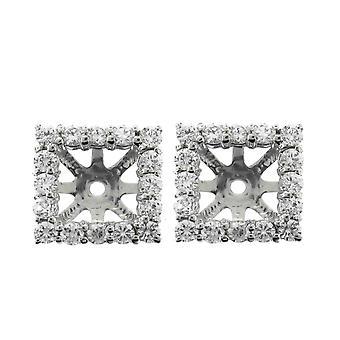 1 1/4ct Princess Cut Diamond Halo Earring Jassen 14K Wit Goud (tot 6mm)