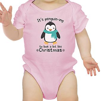 It's Penguin-Ing Funny Baby Girl Bodysuit Pink First Christmas Gifts