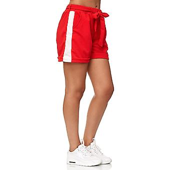 Ladie's Chiffon Shorts Summer Beach Bows Crepé Pants with Belt Stretch Cropped