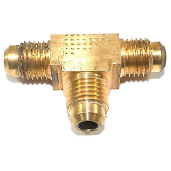 "Big A Service Line 3-144400 Brass Pipe, Flare Tee Fitting 1/4"" x 1/4"" x 1/4"""