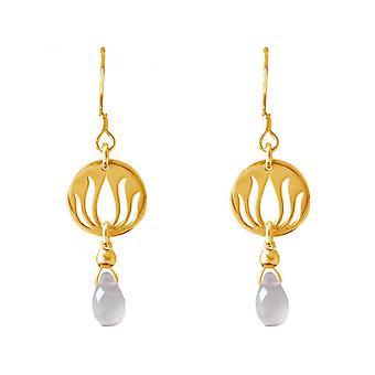 Senhoras - banhado a ouro brincos - prata 925 - - flor de lótus - quartzo rosa - gotejamento - Rosa - YOGA - 3,5 cm