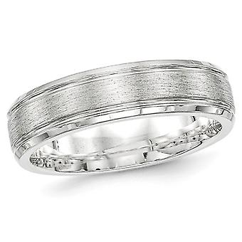 Mens Brushed Sterling Silver Rhodium Plated 6mm Band