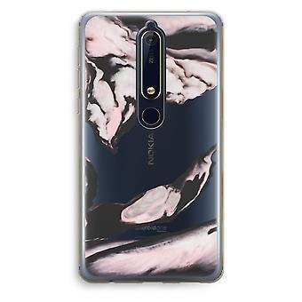 Nokia 6 (2018) gjennomsiktig sak (myk) - rosa strømmen