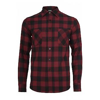 Urban Classics Burgundy Black Checked Flannel Shirt