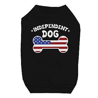 Autentyczne psa Shirt czarny ładny mały pieścić T-Shirt dla 4 lipca