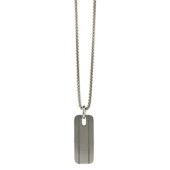 Ti2 Titanium Stitched Pattern Pendant and Chain - Silver
