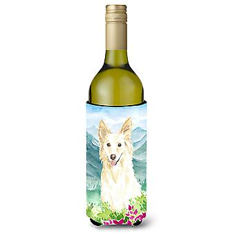 Mountian Flowers White Collie Wine Bottle Beverage Insulator Hugger