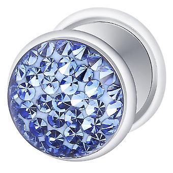 Falso traidor Ear Plug prata chapeado, brinco, joias de corpo, com Multi cristal safira azul