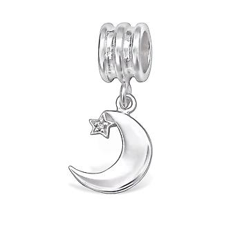 Moon And Star - 925 Sterling Silver Jewelled Beads - W29541x