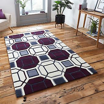 Rugs -Hong Kong Hexagon - HK9238 Ivory / Purple