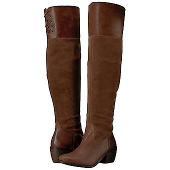 Sorte marca Womens Komah couro amêndoa do dedo do pé sobre o joelho moda botas