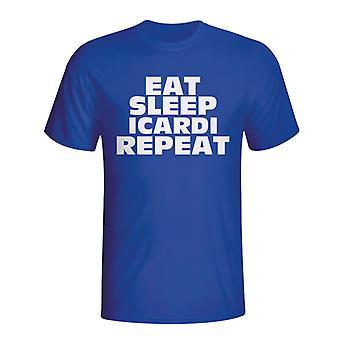 Essen Sie schlafen Schröder wiederholen T-shirt (blau)