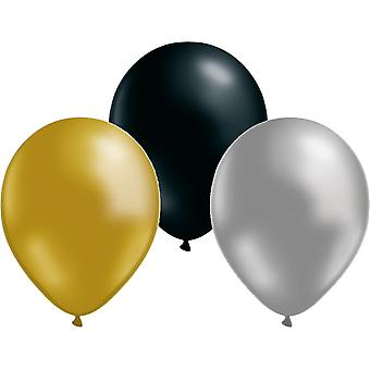 Balloons mix 12-pack Gold, Silver and Black 30 cm (12 inches)