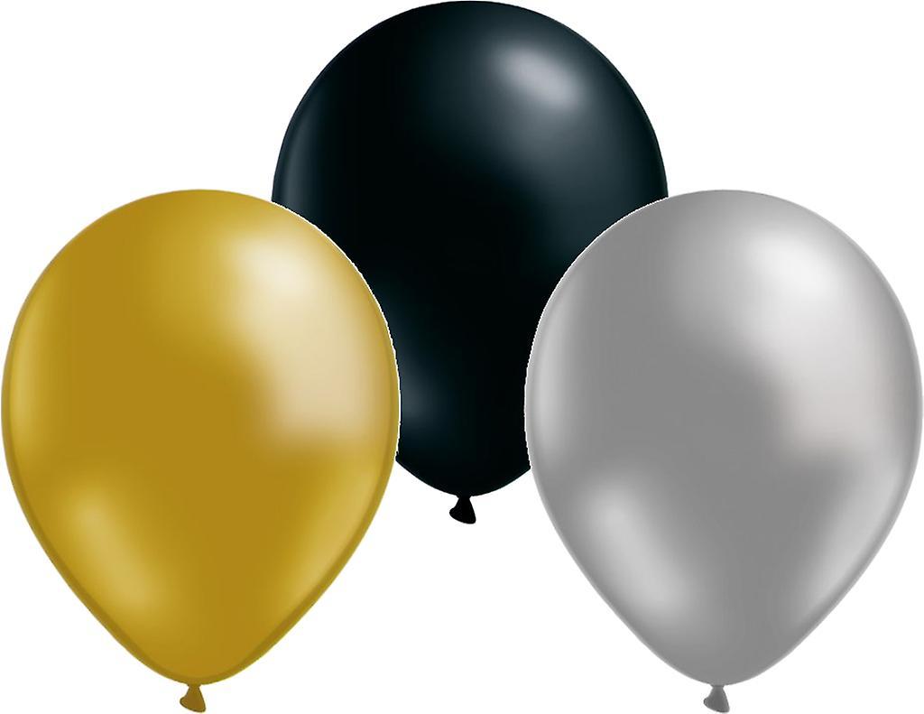 Ballonger mix 12-pack Guld/silver/svart
