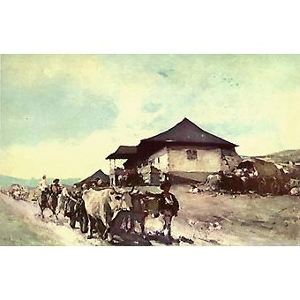 Ox Cart à Oratii, Nicolae Grigorescu, 60x40cm