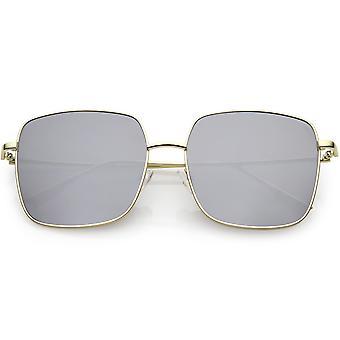 المتضخم معدنية مربعة النظارات الشمسية مسطحة العدسة 57 مم