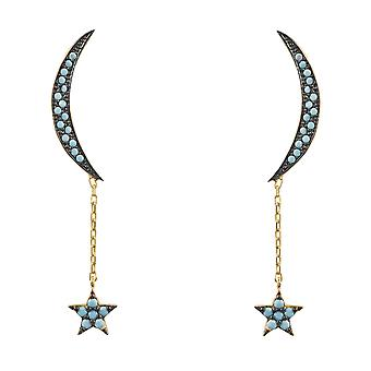 Latelita Earrings Moon Stud Fashion Sterling Silver Gold Stars Blue Turquoise