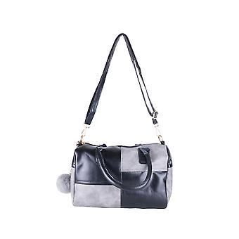 Lovemystyle sort og grå Check taske med Pom-Poms