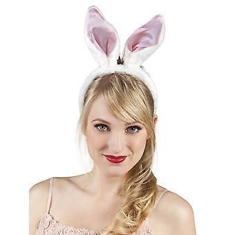 Womens rosa & weißer Hase Ohren Fancy Dress Zubehör