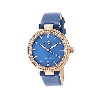Empress Louise Automatic MOP Leather-Band Watch - Blue