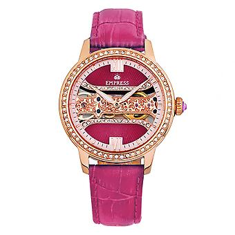 Empress Rania Mechanical Semi-Skeleton Leather-Band Watch - Pink