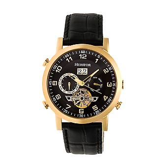Heritor Automatic Edmond Leather-Band Watch w/Date - Gold/Black