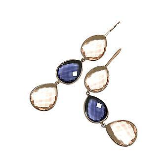 Gemshine oorbellen blauw tansanite en Rozenkwarts drop 925 zilver of verguld