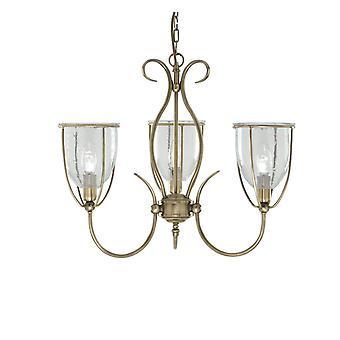 Pingente luz três de silhueta bronze antigo com máscaras de vidro semeado - holofote 6353-3AB