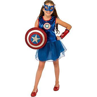 लड़की कप्तान अमेरिका बच्चा पोशाक