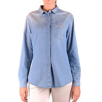 Fabiana Filippi Ezbc055029 Feminino's Camisa de Algodão Azul Claro