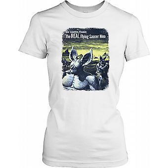 Os homens do verdadeiro disco voador - UFO retrô Cool feminina T-Shirt