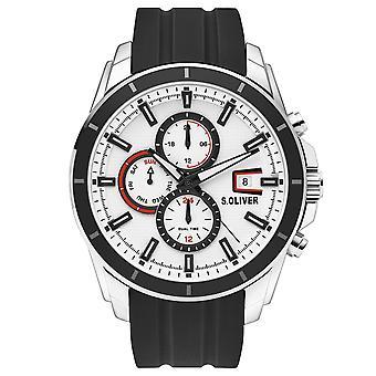 s.Oliver mannen horloge horloge RVS siliconen SO-3756-PM